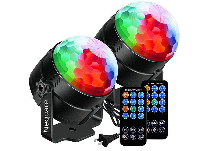 NEQUARE [2-Pack] Luces de fiesta Sonido Activado Disco Ball Luz Estroboscópica